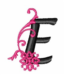 Floral Twirl letters E embroidery design