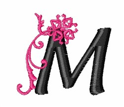Floral Twirl letters M embroidery design