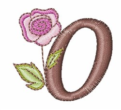 Rose Alphabet O embroidery design
