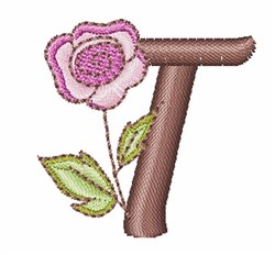 Rose Alphabet T embroidery design