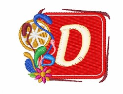 Tropocal Letters D embroidery design