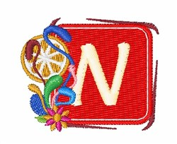 Tropocal Letters N embroidery design