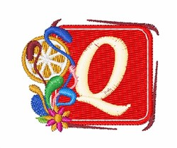 Tropocal Letters Q embroidery design