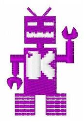 Robot Invaders Font K embroidery design