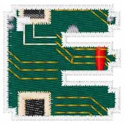 Circuit Board Font E embroidery design
