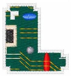 Circuit Board Font L embroidery design