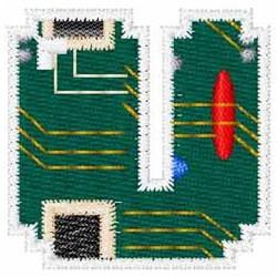 Circuit Board Font U embroidery design