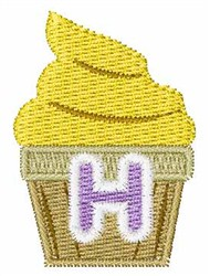 Cupcakes Font H embroidery design