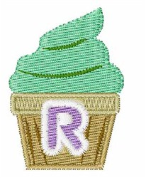 Cupcakes Font R embroidery design