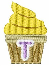 Cupcakes Font T embroidery design