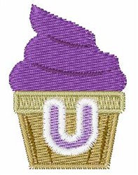 Cupcakes Font U embroidery design