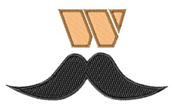 Mustache Font w embroidery design
