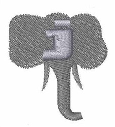 Elephant Font j embroidery design