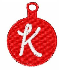Christmas Ornament Font K embroidery design