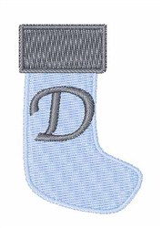 Stocking Font D embroidery design