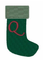Stocking Font Q embroidery design