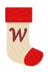 Stocking Font W embroidery design