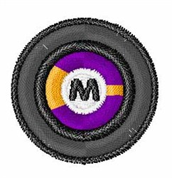 Vinyl Record Font M embroidery design