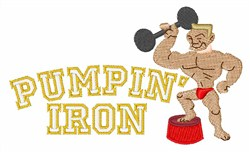 Pumpin Iron embroidery design