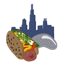 Chicago Hot Dog embroidery design
