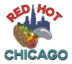 Red Hot Chicago embroidery design
