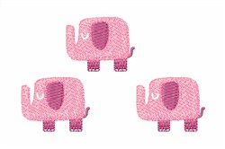 Pink Elephants embroidery design