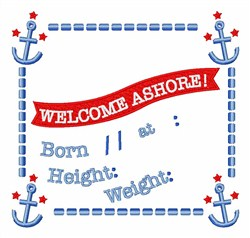 Welcome Ashore embroidery design