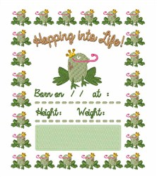 Hopping into Life embroidery design