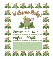 Welcome Baby Frog embroidery design