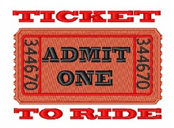 Ticket To Ride embroidery design