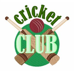 Cricket Club embroidery design