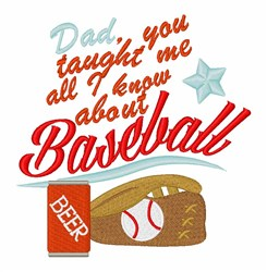 Dad Taught Baseball embroidery design