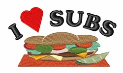 I Love Subs embroidery design