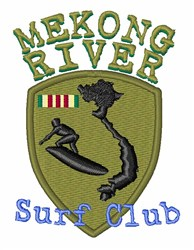 Mekong River Surf Club embroidery design