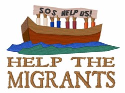 Help The Migrants embroidery design