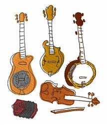 Folk Instruments embroidery design
