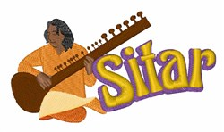 Sitar Music embroidery design