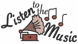 Listen To Music embroidery design