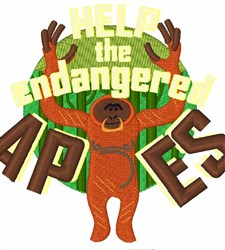 Endangered Apes embroidery design