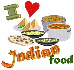 Love Indian Food embroidery design