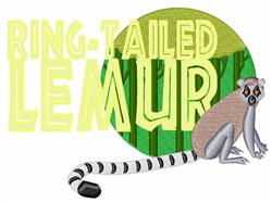 Ring-Tailed Lemur embroidery design