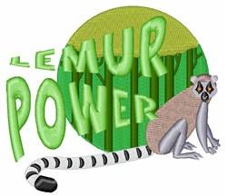 Lemur Power embroidery design