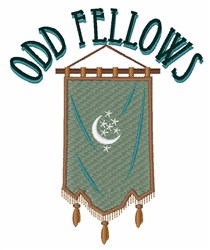 Odd Fellow Moon Banner embroidery design
