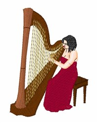 Harp Player embroidery design