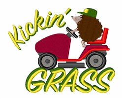Hedgehog Kickin Grass embroidery design