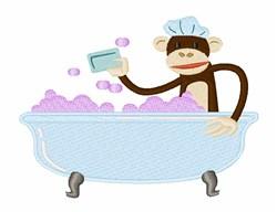 Bathtime Monkey embroidery design