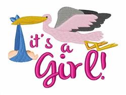 Stork Delivering Baby embroidery design