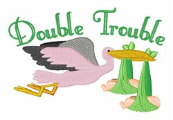 Stork Delivering Twins embroidery design