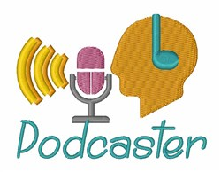 Podcaster embroidery design