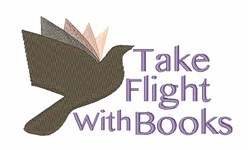 Flight With Books embroidery design